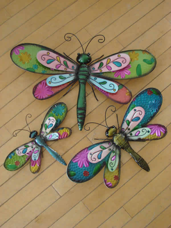 Colourful metal dragonflies